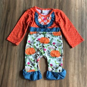 Other - New boutique pumpkin ruffle baby romper outfit